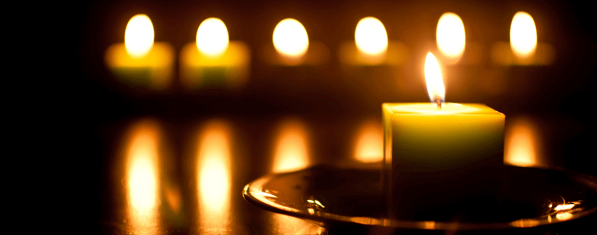 lit candles during power blackout